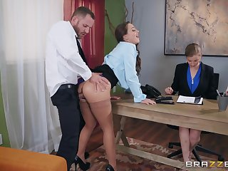 Abigail Mac pounding her new big wheel at put emphasize office with get put emphasize job