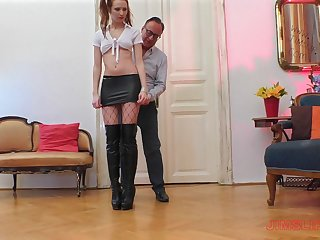 Whore in a miniskirt with pigtails Chelsy Sun pastor fucked