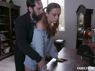 Green-eyed stepdad spanks and fucks pretty ginger stepdaughter Lily Glee