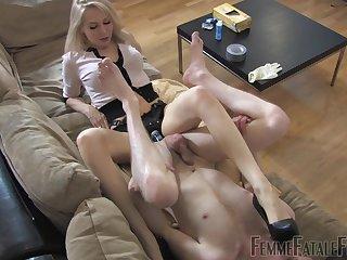 Dominant blonde irritant fucks slave boy with huge strap-on toy