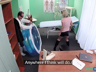 Blonde slut Luci Angel with natural jugs fucked by her doctor