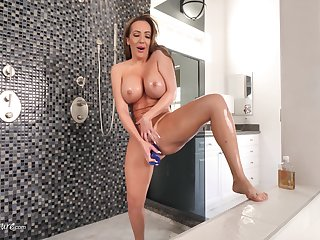 Man's dick keeps on pumping the busty enactment mommy even after the orgasm