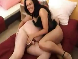 Lewd natural brunette is ready at hand treat older man with some handjob