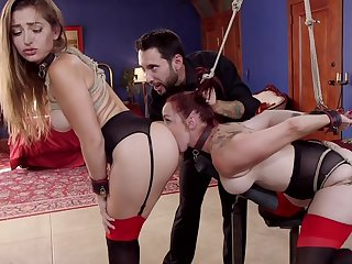 Restrict Dani Daniels and Bella Rossi serve painless sex slaves for stern Master