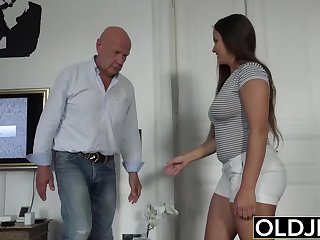 Old and young sex in bits organism and ends with hot cum