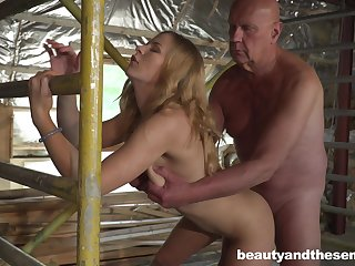 Lovely young blonde Jenny Manson is having sex with old timer