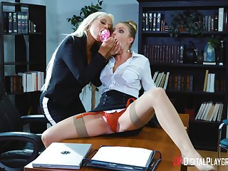 Professional ladies Bridgette B. and Britney Amber hook up in the offices