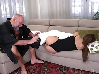 Student tenant Sarah Cute gets intimate with old manageress